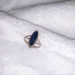 Navy stone oval ring